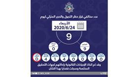 الداخلية: 9 مخالفين لحظر التجول والحجر المنزلي أمس