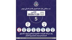 الداخلية: 5 مخالفين لحظر التجول والحجر المنزلي أمس