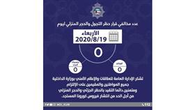 الداخلية تشكر المواطنين والمقيمين: لا مخالفين لحظر التجول والحجر المنزلي أمس