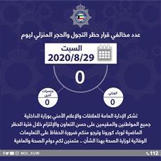 الداخلية تشكر المواطنين والمقيمين: صفر مخالفين في آخر أيام حظر التجول
