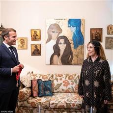 الصور الأولى للقاء فيروز والرئيس الفرنسي
