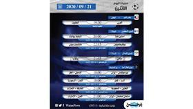 أبرز المباريات العالمية ليوم الاثنين 21 سبتمبر 2020