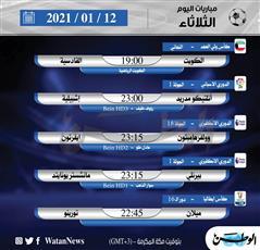 أبرز المباريات المحلية والعالمية ليوم الثلاثاء 12 يناير 2021